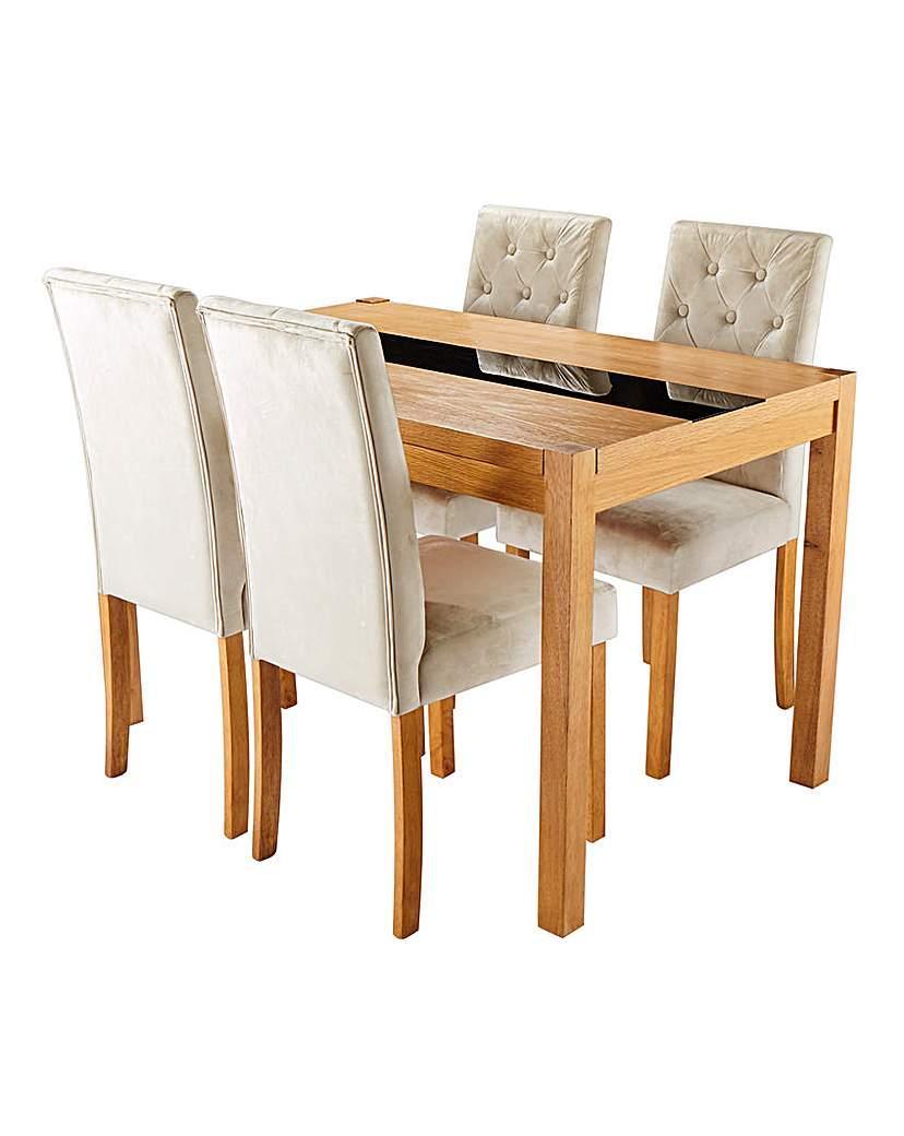 Oakham Glass Panel Table 4 Grace Chairs