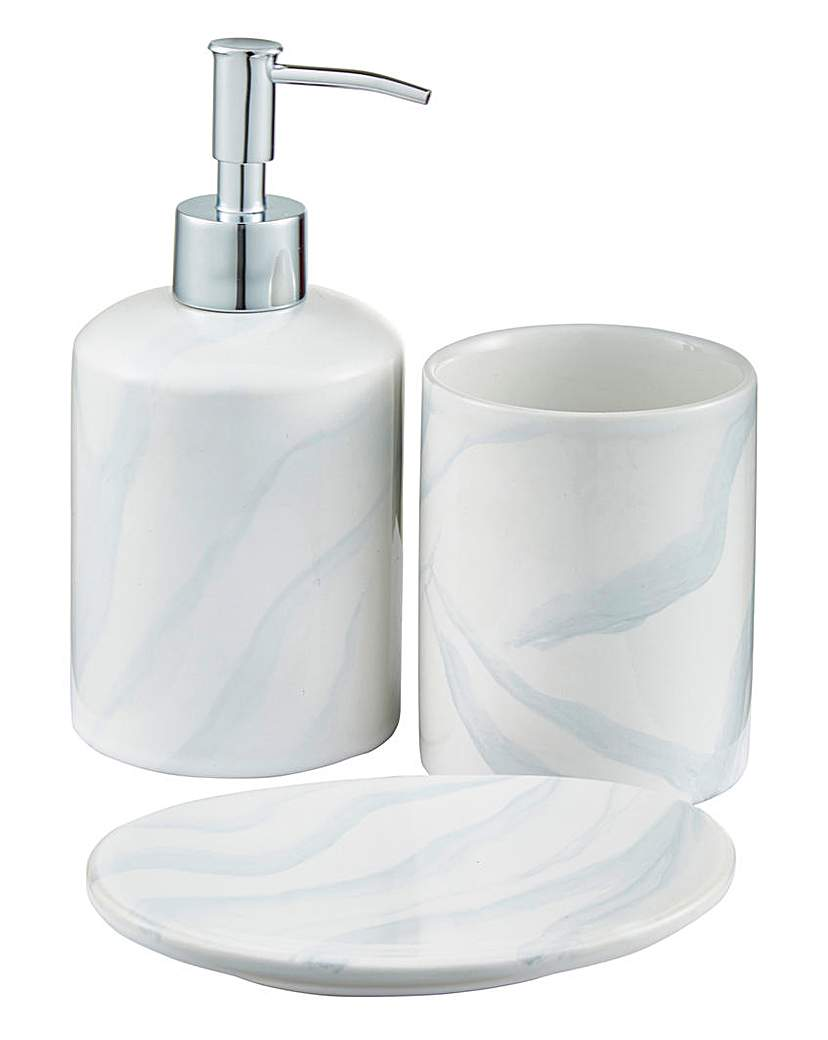 Lorraine kelly marble effect accessories for Marble bathroom accessories