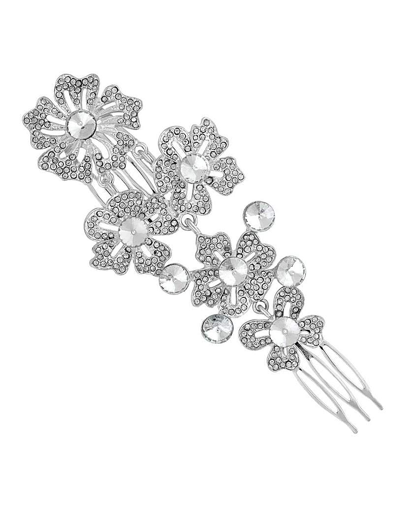 Mood silver ornate flower hair comb