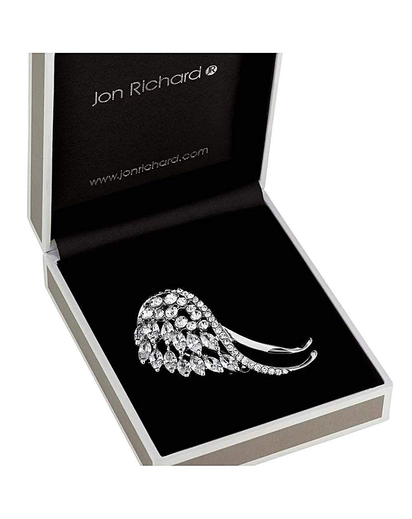 Jon Richard crystal angel wing brooch