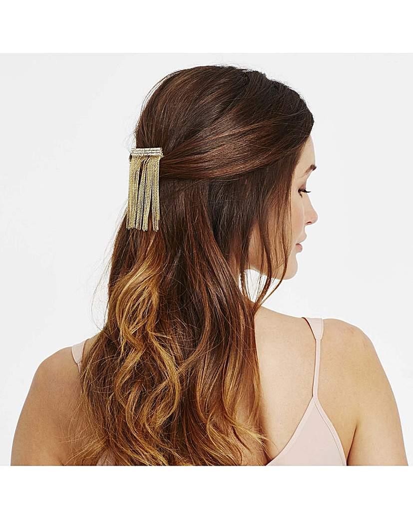 Mood crystal chain fringed hair comb