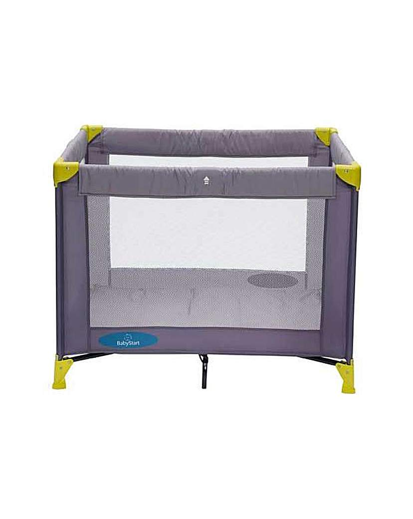 Image of BabyStart Travel Cot - Grey and Green