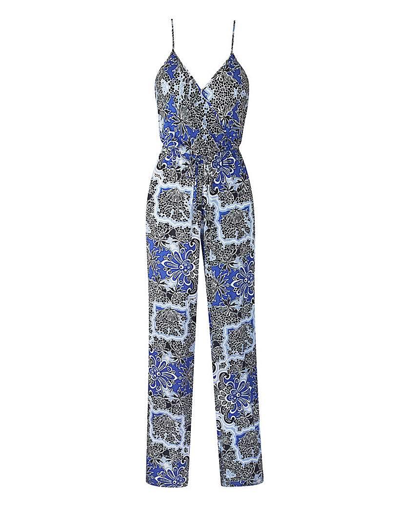 Blue Print Strappy Wrap-neck Jumpsuit