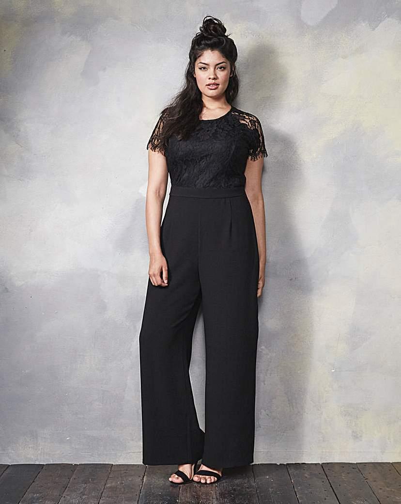1930s Women's Pants and Beach Pajamas Bespoke Wide-Leg Lace Trim Jumpsuit £18.00 AT vintagedancer.com