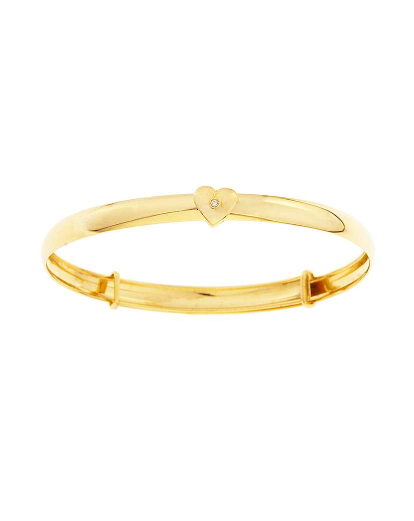 9ct Gold Sliding Heart Expander Bangle