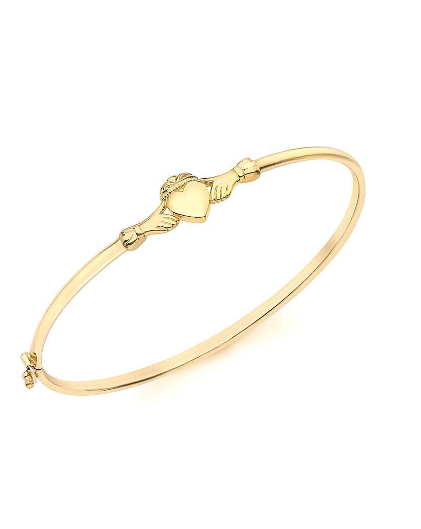 9ct Gold Claddagh Bangle