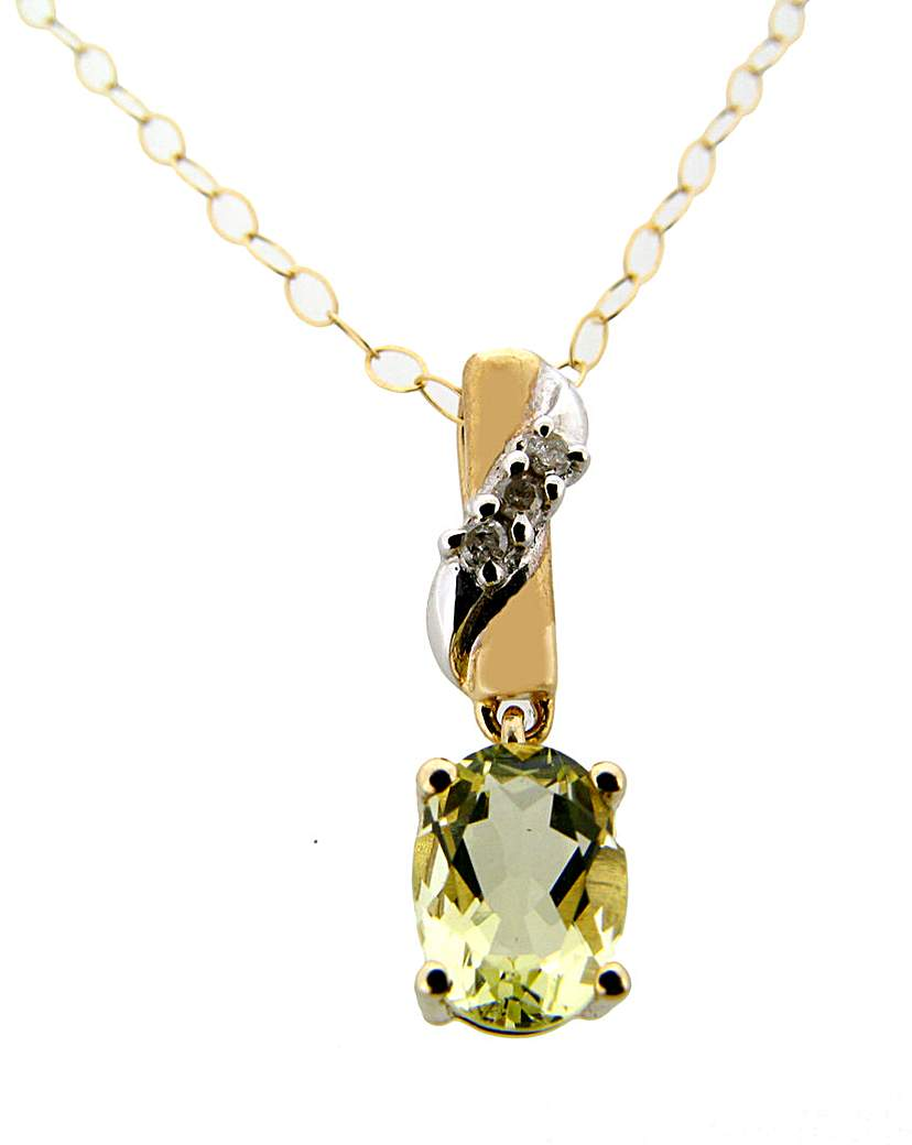 Image of 9ct YG Diamond and Lemon Quartz Pendant