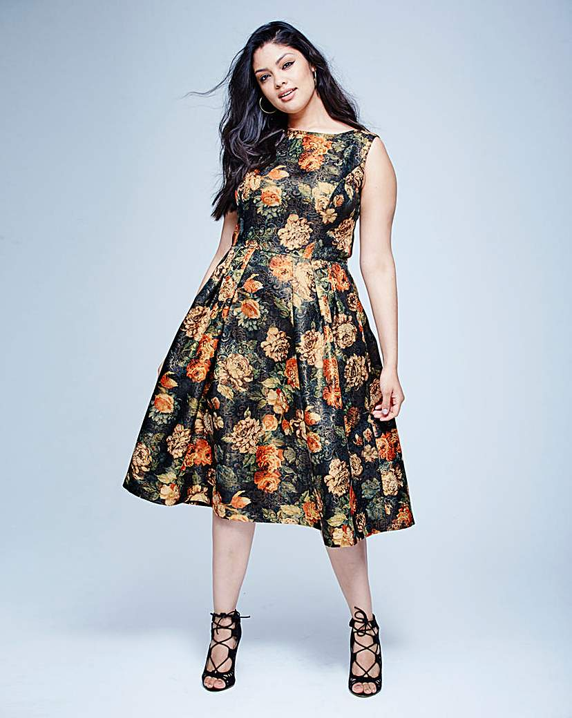 Chi Chi Metallic Floral Brocade Dress