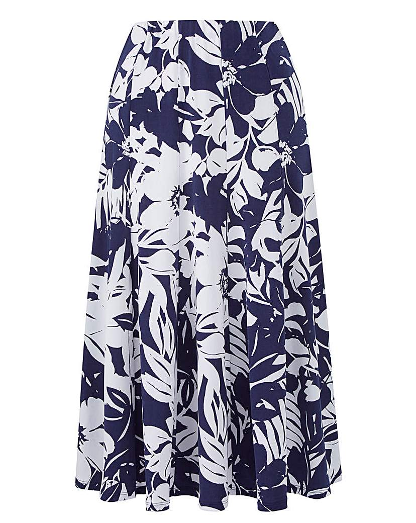 Image of Floral Print Jersey Panelled Skirt L27in