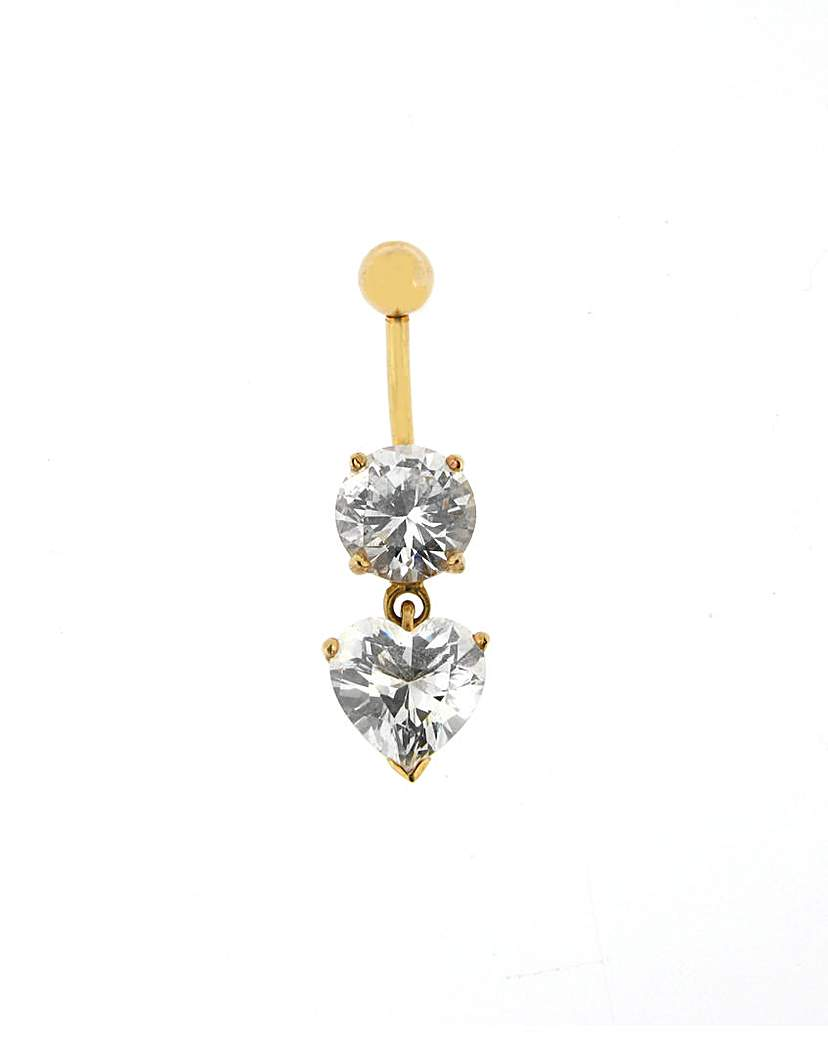 Image of 9ct Yellow Gold Crystal Drop Navel Bar