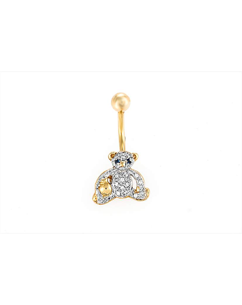 Image of 9ct Yellow Gold Crystal Teddy Navel Bar