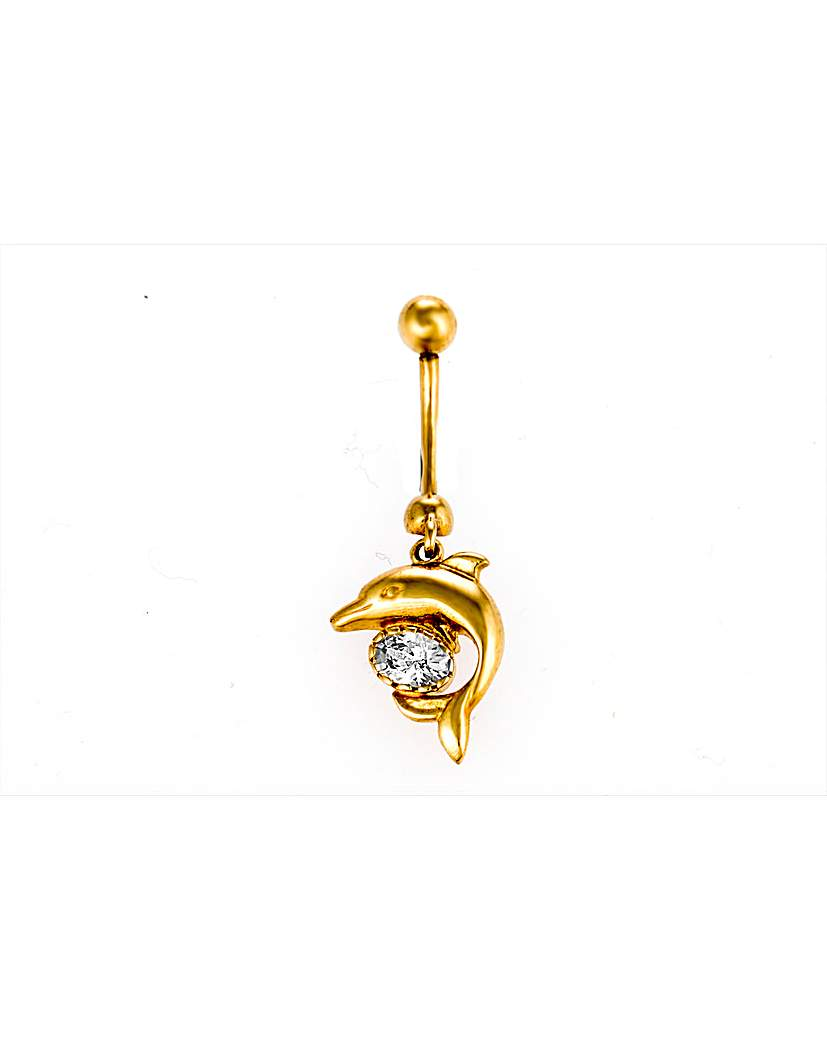9ct Yellow Gold Dolphin Navel Bar