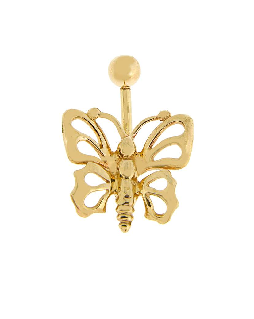 Image of 9ct Yellow Gold Butterfly Navel Bar