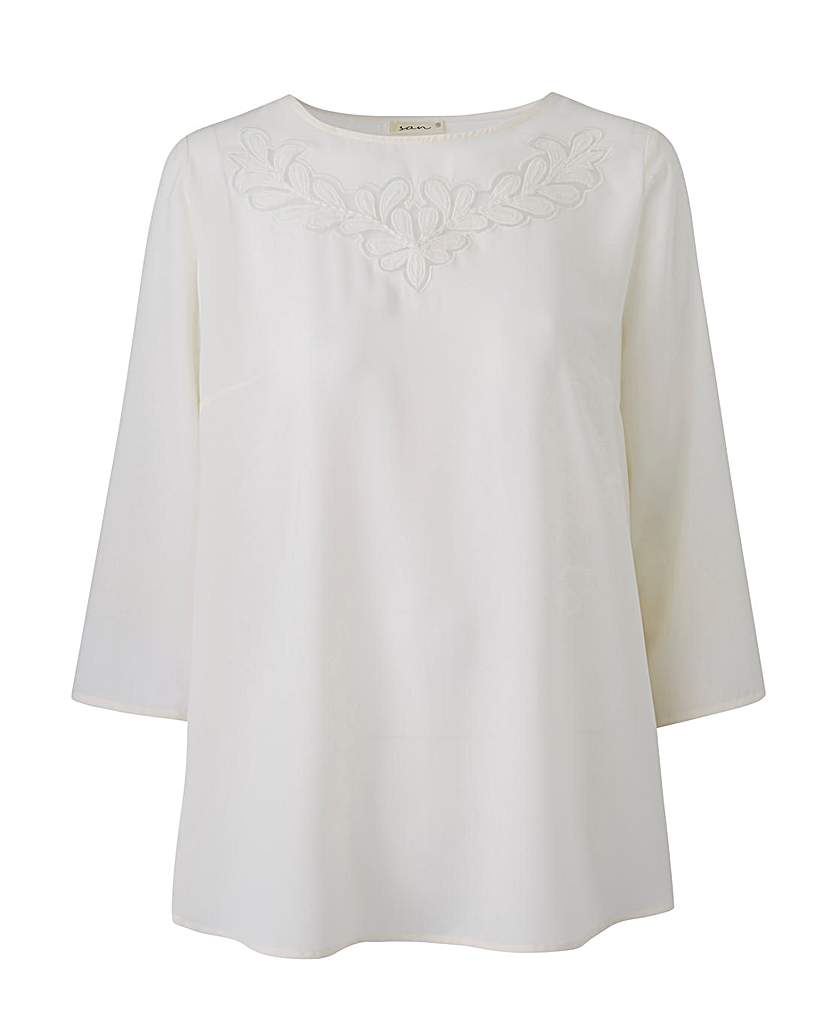 1920s Style Blouses, Tops, Sweaters, Cardigans Ivory Floral Cut Out Top £18.50 AT vintagedancer.com