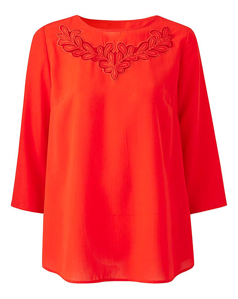1920s Style Blouses, Tops, Sweaters, Cardigans Red Floral Cut Out Top £19.25 AT vintagedancer.com