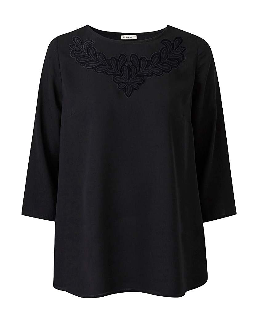 1920s Style Blouses, Tops, Sweaters, Cardigans Black Floral Cut Out Top £10.50 AT vintagedancer.com