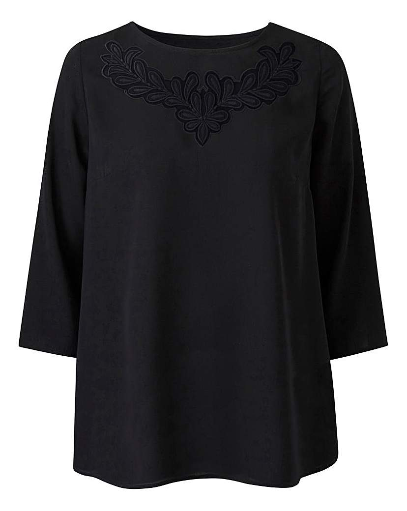 1920s Style Blouses, Tops, Sweaters, Cardigans Black Floral Cut Out Top £25.00 AT vintagedancer.com