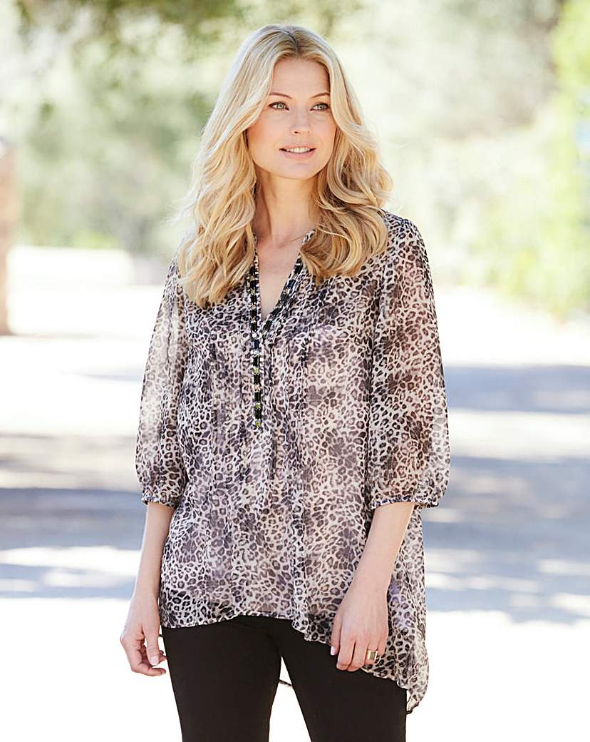 Animal Print Embellished Dip Hem Tunic