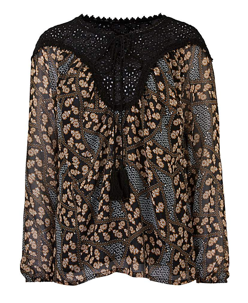 Brown Print Tie Neck Gypsy Blouse