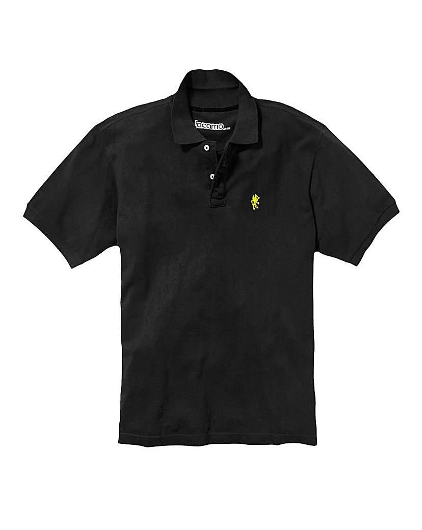 Jacamo Black Embroidered Polo Long