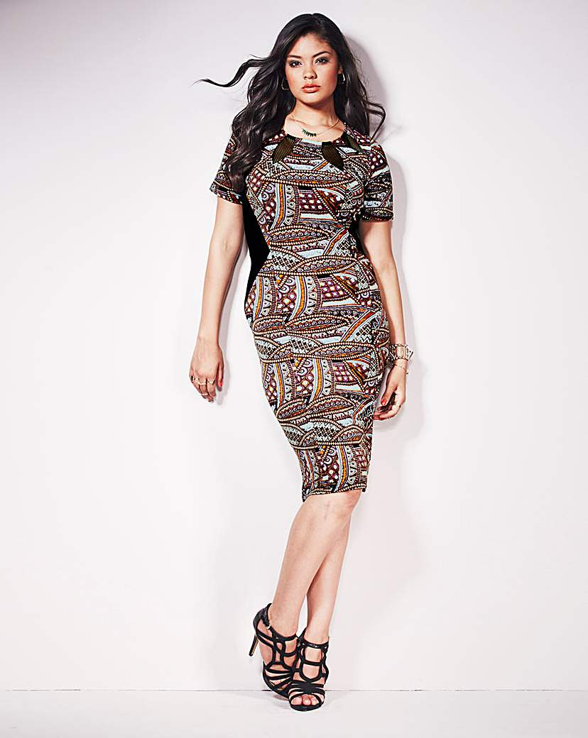 Anna Scholz Print Mesh Trim Dress
