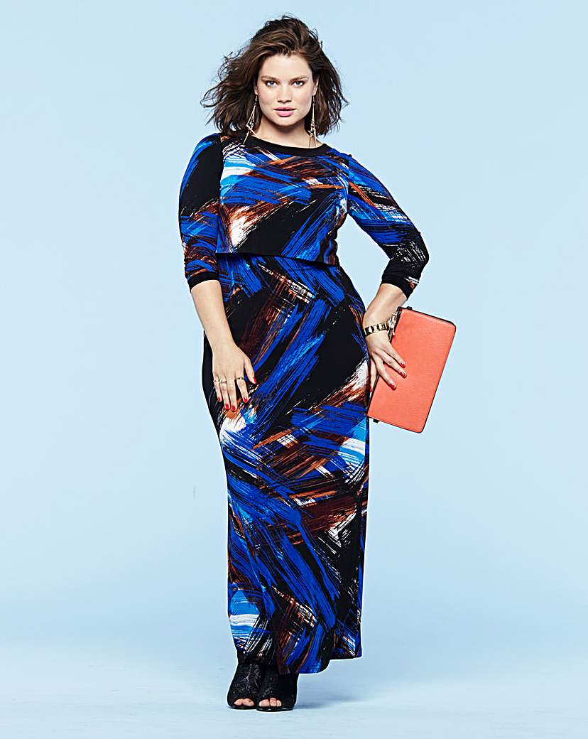 Look Layer Top Print Maxi Dress