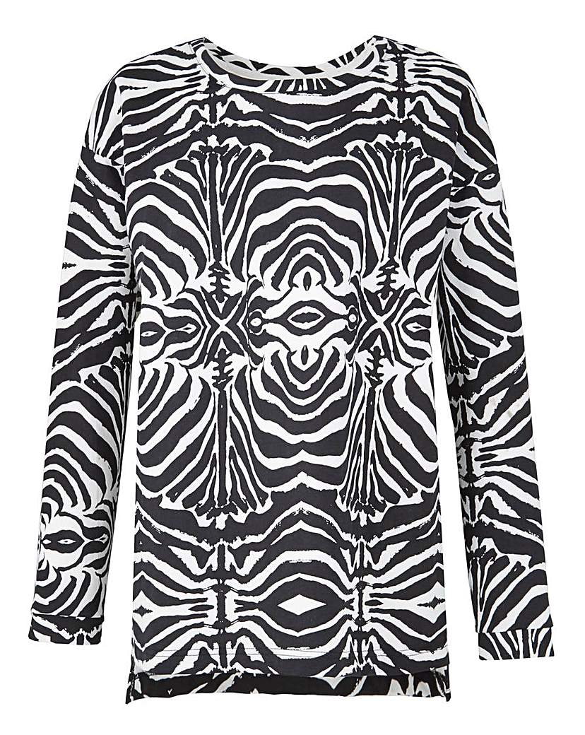 Product photo of Zebra print sweat top