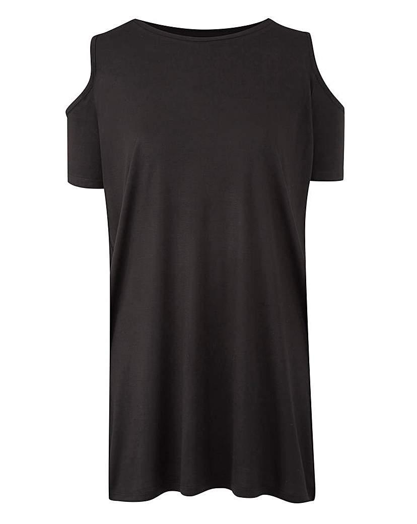 Black Short Sleeve Cold Shoulder Tunic.
