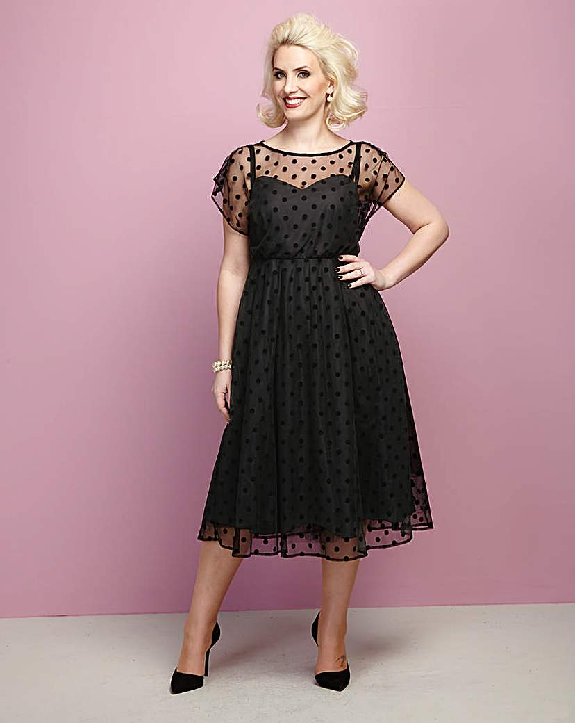 Claire Richards Spot Mesh Prom Dress