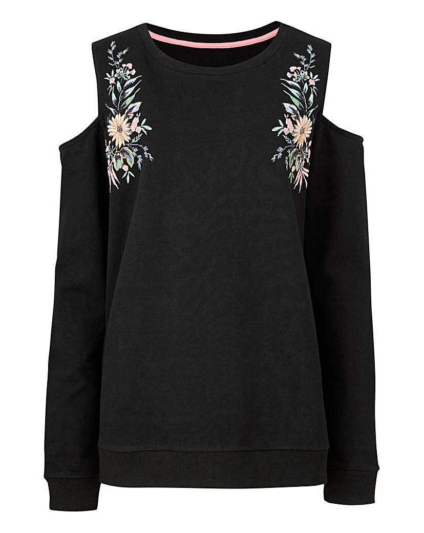 Image of Embroidered Cold Shoulder Sweatshirt