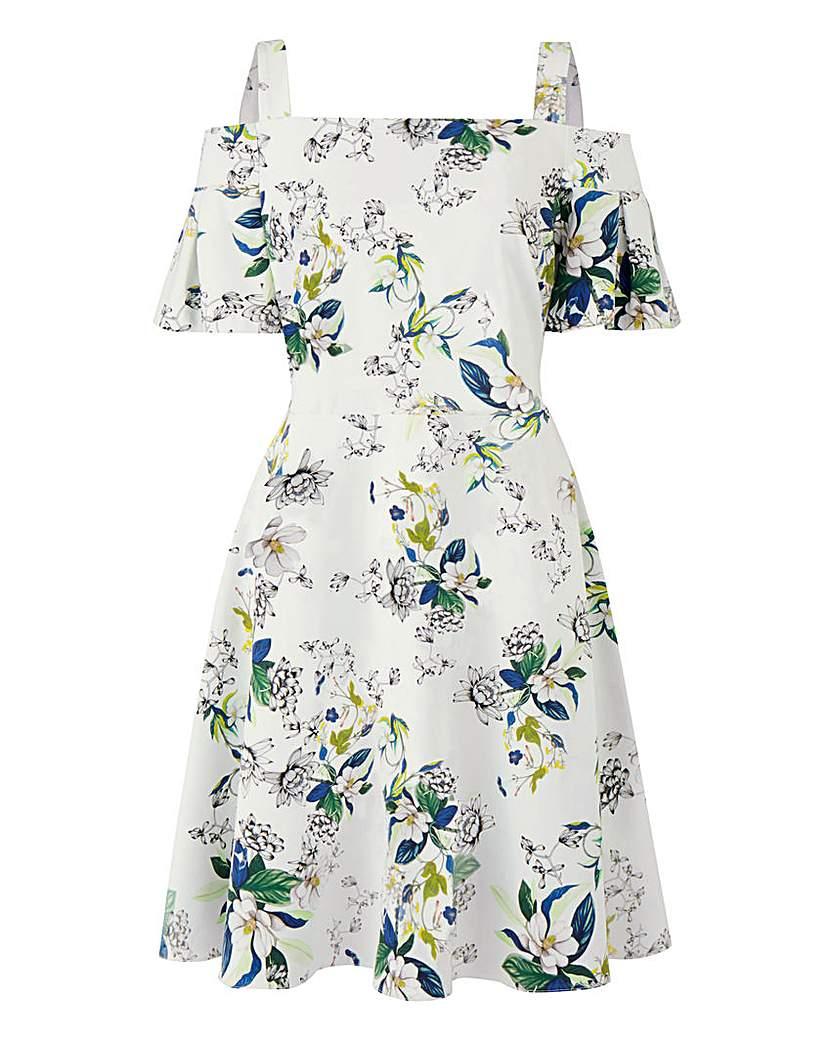 Image of Closet Cold Shoulder Frill Dress