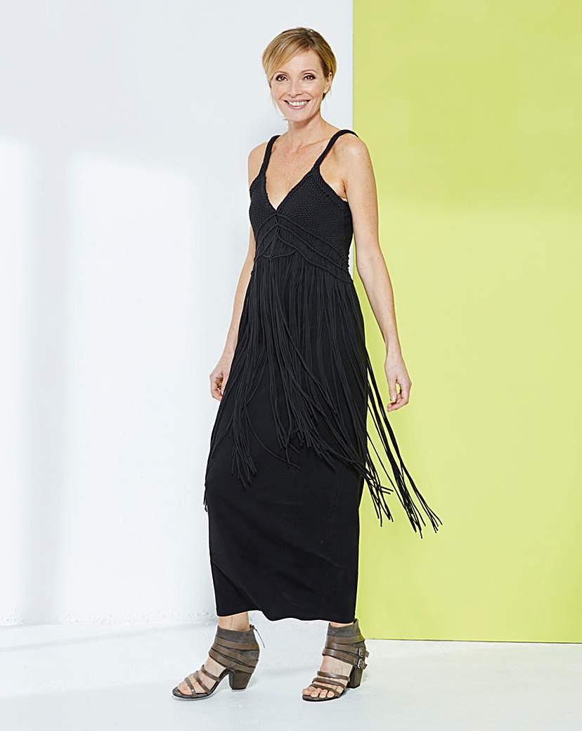 Fringed Jersey Maxi Dress