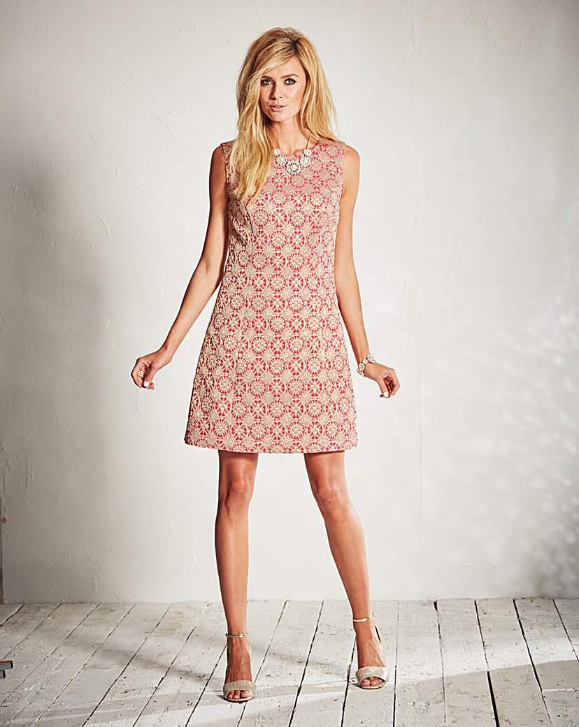 Brocade Sleeveless Shift Dress