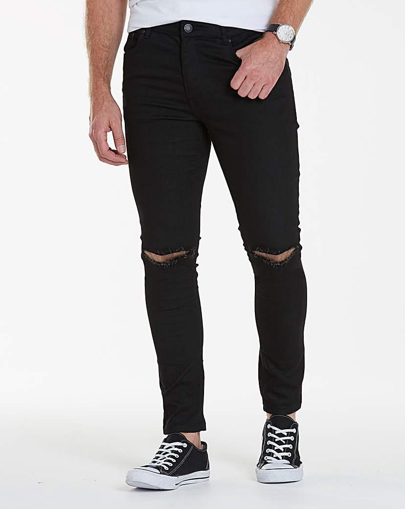 Label J Rip Knee Skinny Jeans 33in Leg.