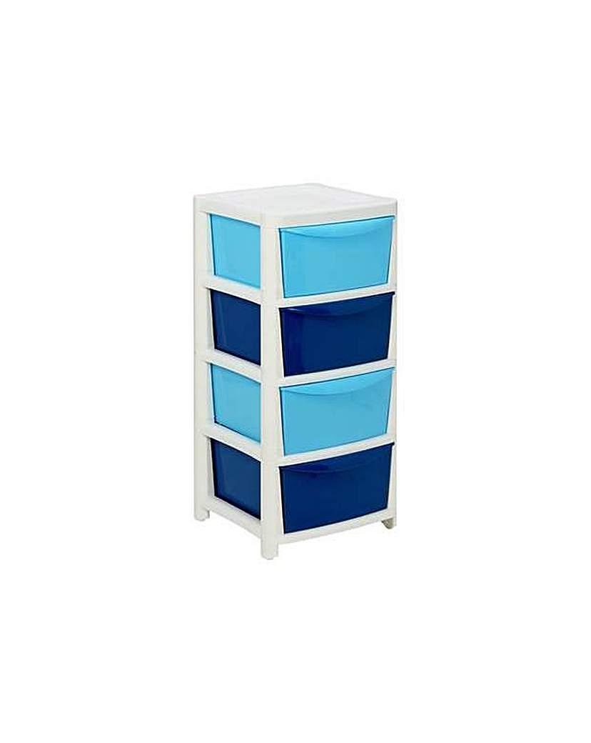 home 4 drawer storage tower blue