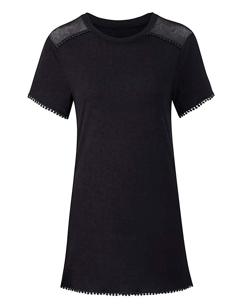 Black Mesh Trim Pom Pom Tshirt.
