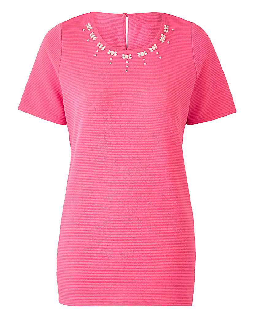Pink Embellished Textured Shell Top.