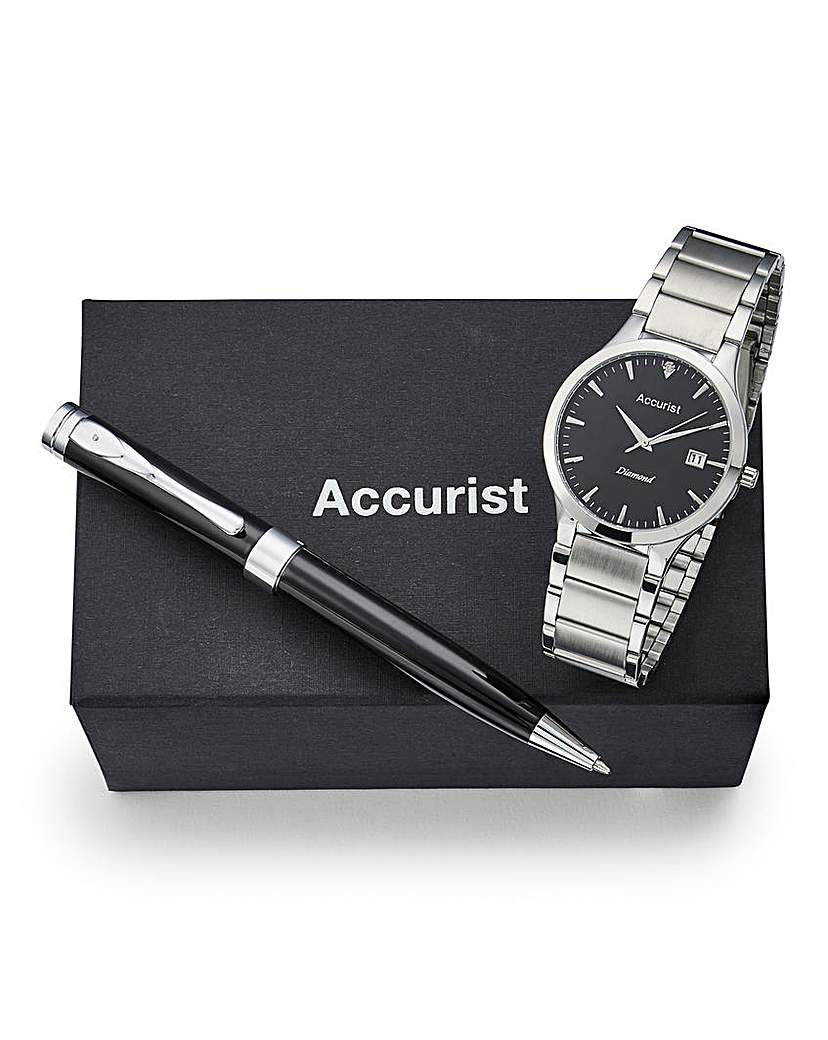 Image of Accurist Gents Watch And Pen Set