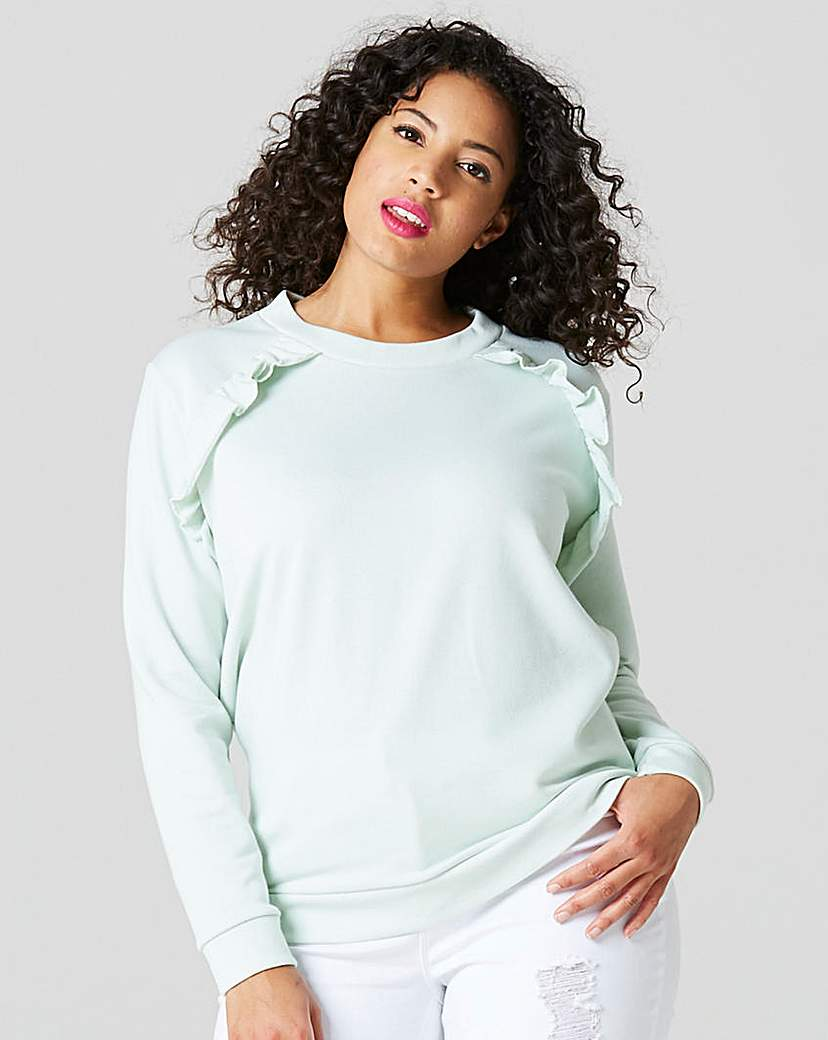 Mint Ruffle Shoulder Sweatshirt