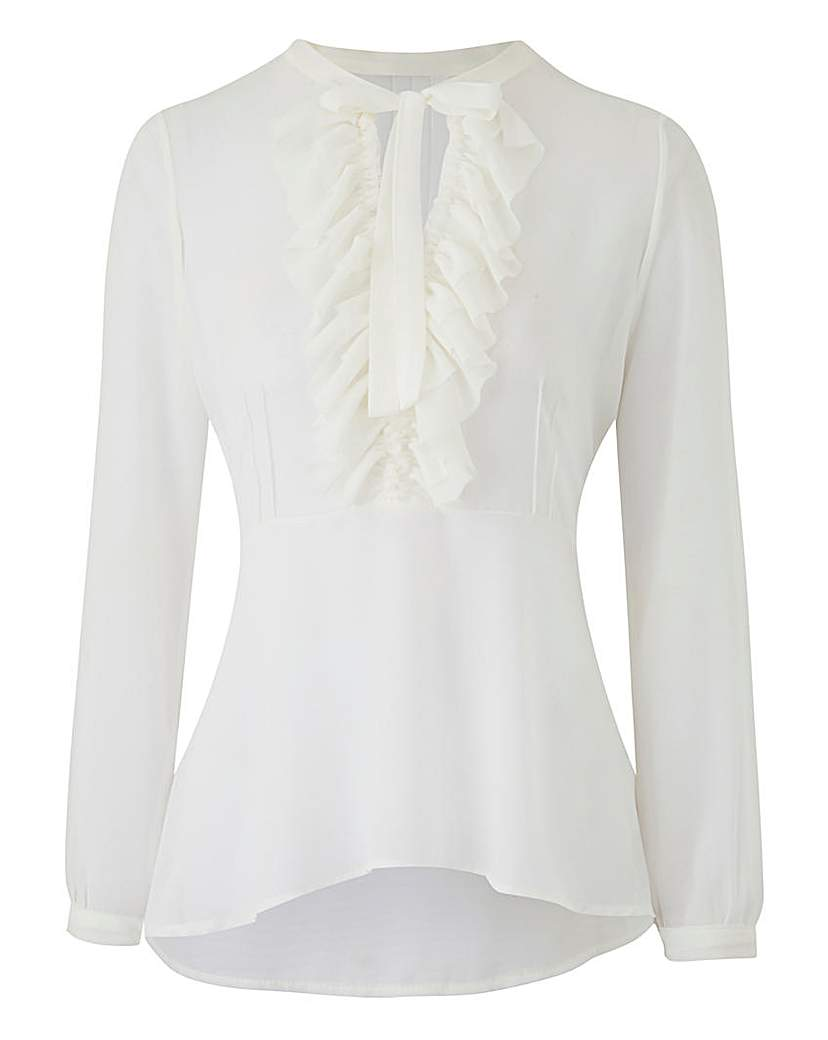 JAMES LAKELAND RUFFLE FRONT BLOUSE