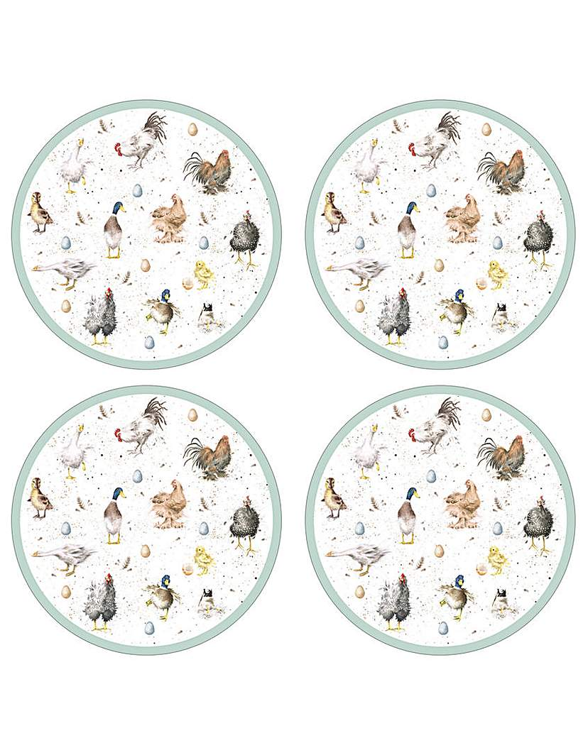 Image of Wrendale Farmyard Feathers Placemats x4