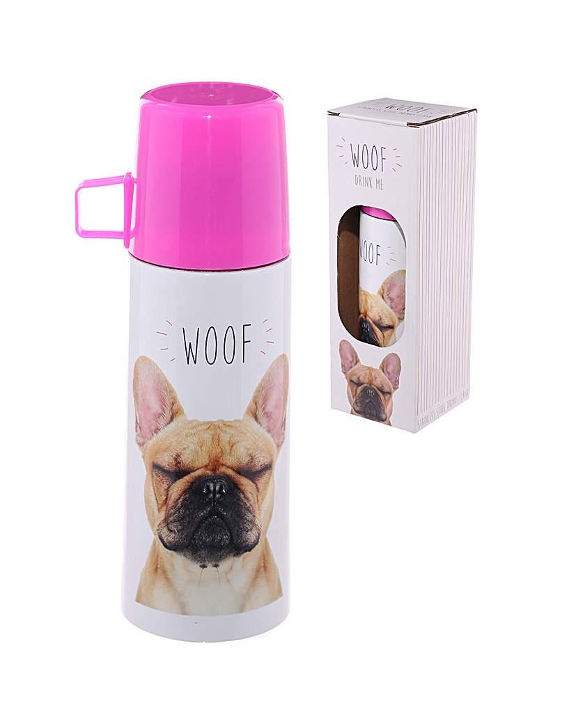 Image of Funky 350ml Flask - Bulldog WOOF