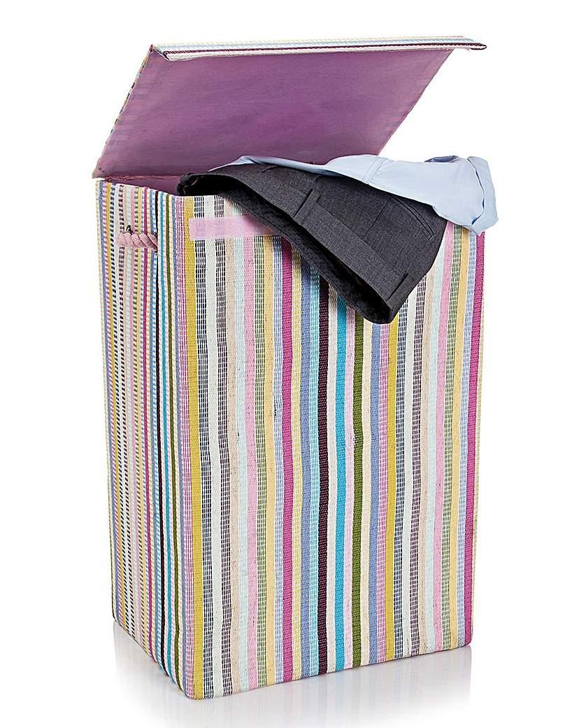 Minky Candy Stripe Laundry Basket