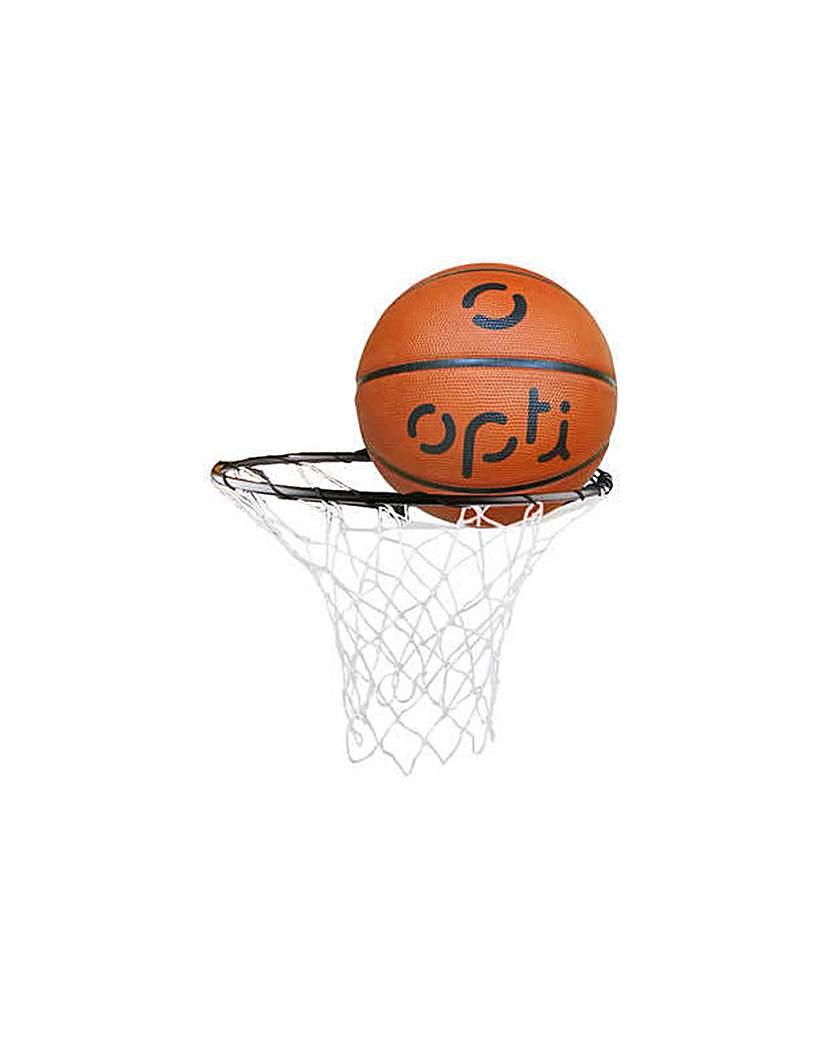 Opti Basketball Ring Net And Ball.