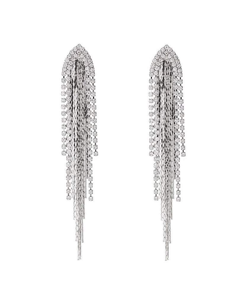 Mood diamante tassel arch drop earring