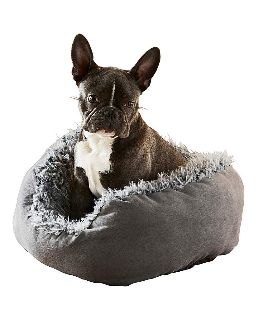 Grey Lion Suede Oval Dog Bed