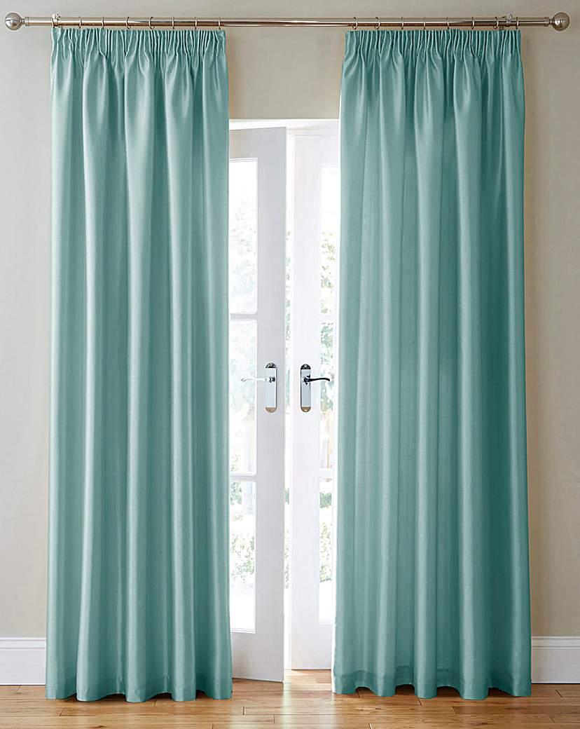 Faux Silk Pencil Pleat Curtains.