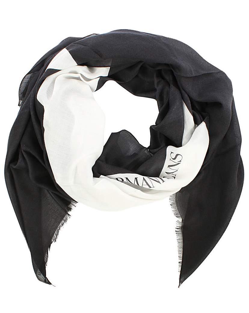Image of Armani Jeans Black Large Star Scarf