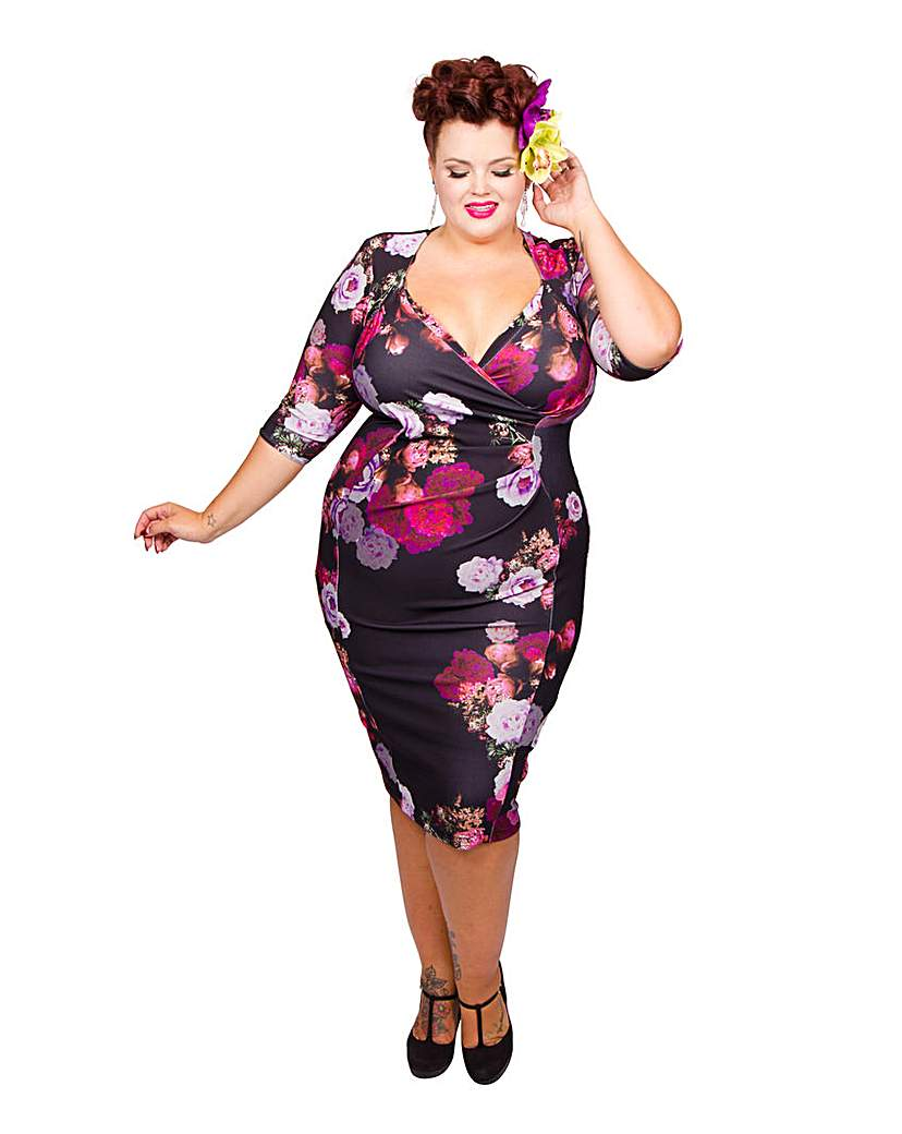 1950s Rockabilly Dresses Scarlett  Jo Scuba Bodycon Dress £45.50 AT vintagedancer.com