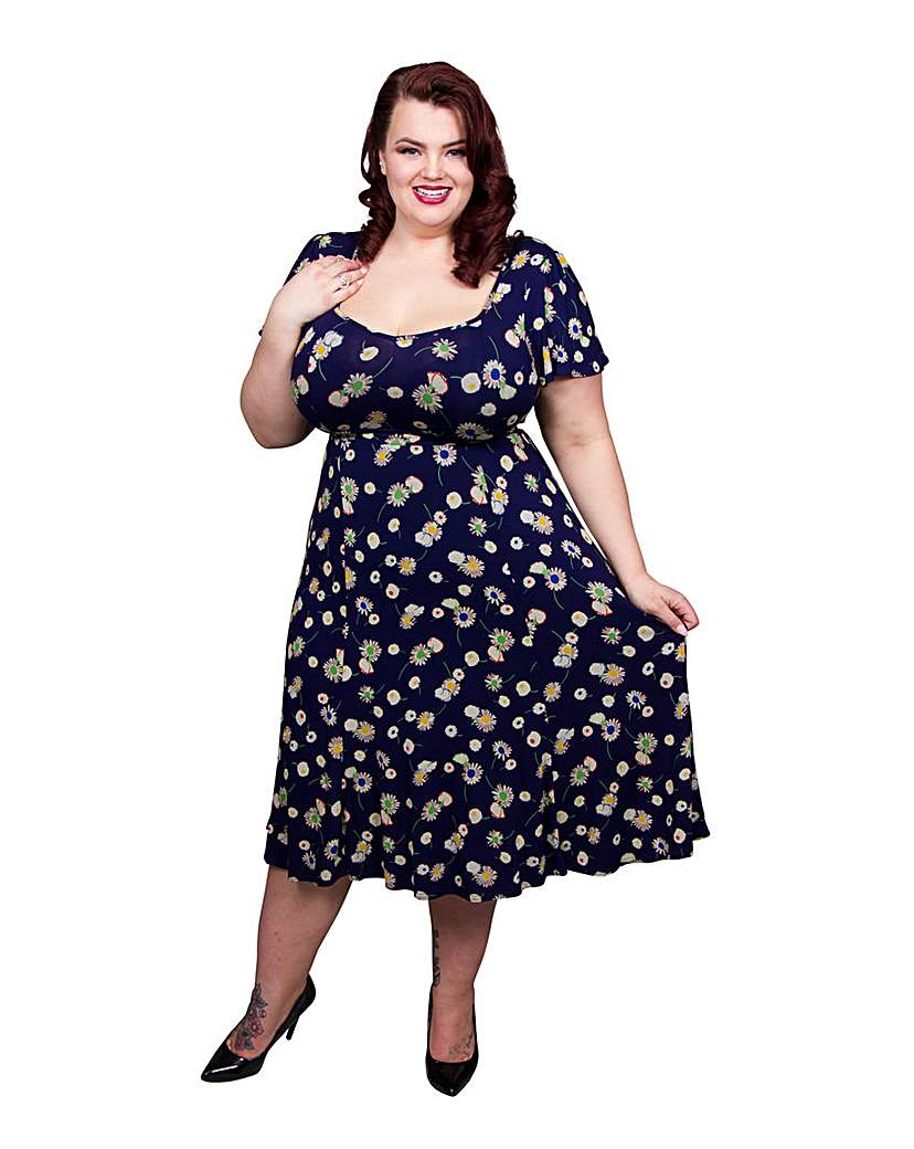 1940s Style Dresses and Clothing Scarlett  Jo Tie Back Floral 40s Dress £50.00 AT vintagedancer.com